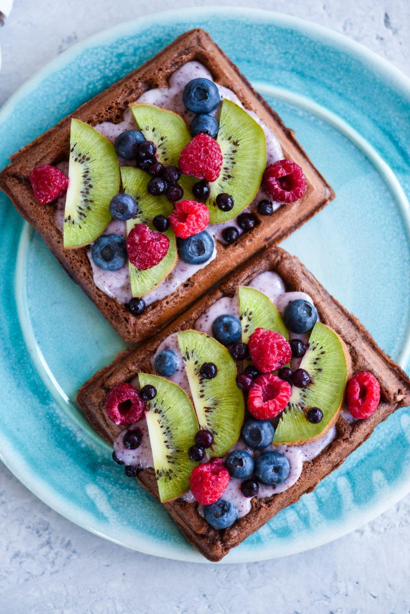 Dark Chocolate Protein Waffles With Fresh Fruit