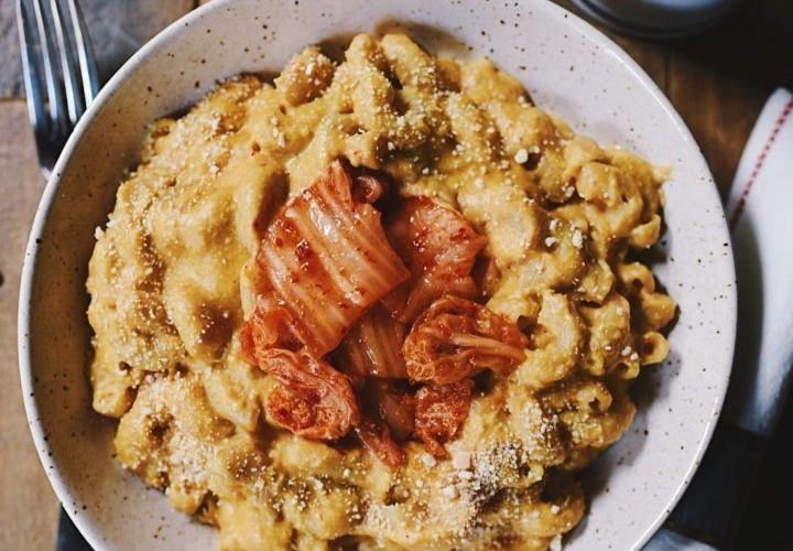 Vegan Kimchi Mac'n Cheese by The Korean Vegan