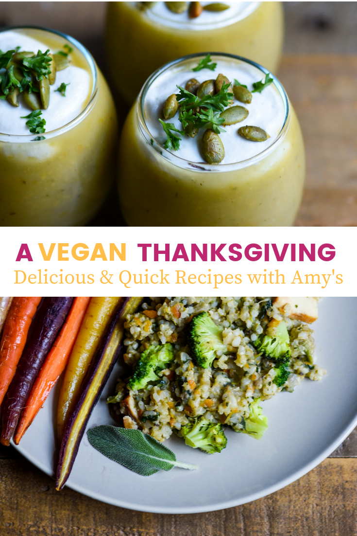Delicious and fully vegan Thanksgiving recipe ideas that are quick to make and guaranteed crowd pleasers! The recipes are both dairy- and gluten-free.